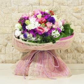 Renkli Mevsim Çiçekleri Buketi}